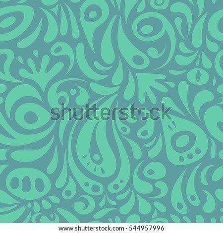 Ikat damask seamless pattern background tile in a green and blue colors.