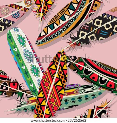 Ikat feather seamless  pattern design - stock photo