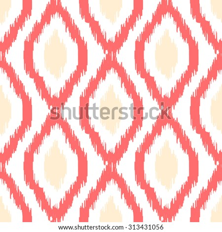 Ikat seamless pattern. Abstract geometric background for fabric, print or wrapping paper. Coral light and beige on white - stock photo