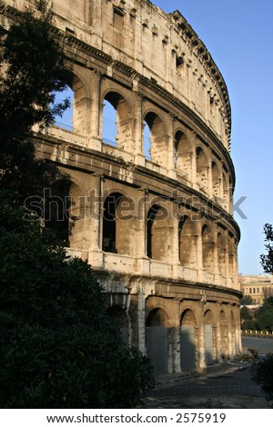 Il Colosseo also known as Flavian Amphitheatre: Rome's famous landmark - stock photo