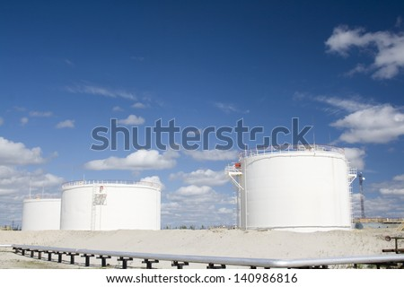 il industry and gas industry. Work of refinery petrochemical plant. Oil reservoir and storage tank of mineral oil  - stock photo