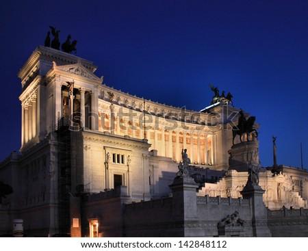 Il Vittoriano (The Altare della Patria) at night. Piazza Venezia in Rome, Italy - stock photo