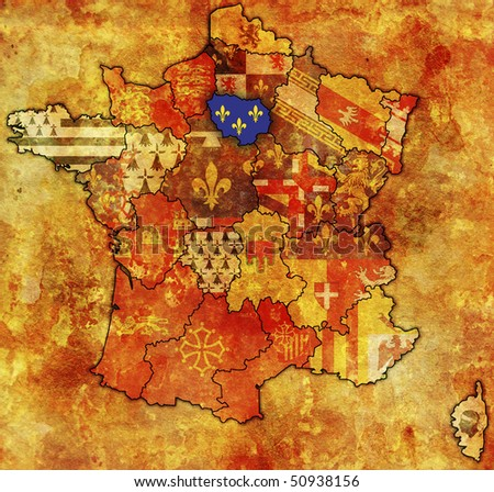 Ile-de-France on old map of france with flags of administrative divisions