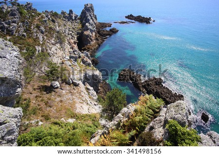 Ile Vierge, Crozon Peninsula, Finistere, Brittany, France - stock photo