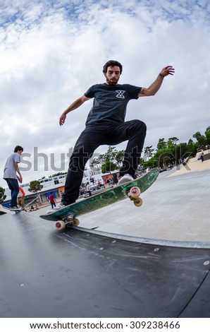 ILHAVO, PORTUGAL - AUGUST 22, 2015: Pedro Mano during the Ilhavo's Skateboarding Championship and the new skatepark opening. - stock photo