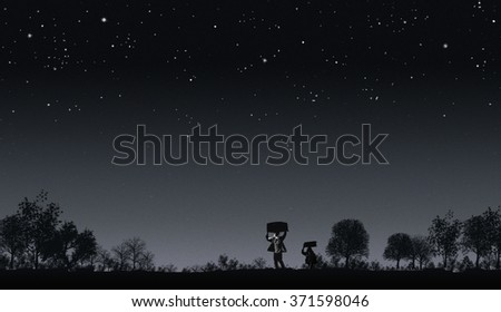 Illegal immigrants walking through the fields under a starry night. - stock photo