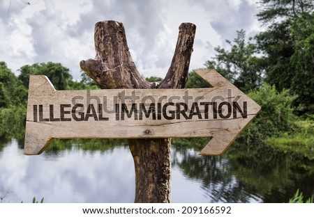 Illegal Immigration wooden sign with a forest background - stock photo