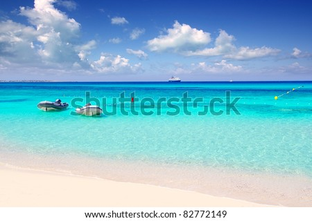 Illetas illetes tropical beach in Mediterranean with turquoise color a real paradise Formentera island [Photo Illustration] - stock photo