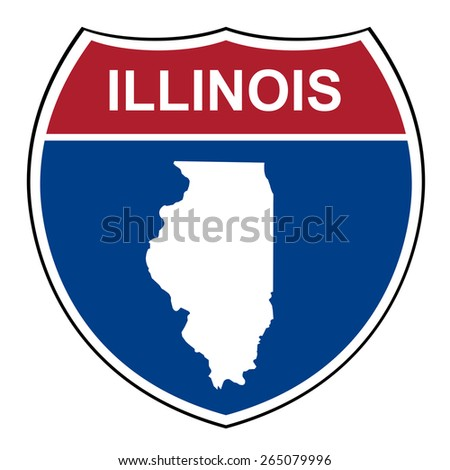 Illinois American interstate highway road shield isolated on a white background. - stock photo