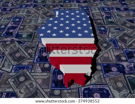 Illinois map flag on dollars illustration - stock photo