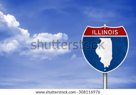 Illinois road sign concept - stock photo