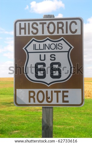 Illinois Route 66 sign as found on the Historic Route 66 - stock photo