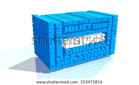 illinois state cities blue 3d list - stock photo