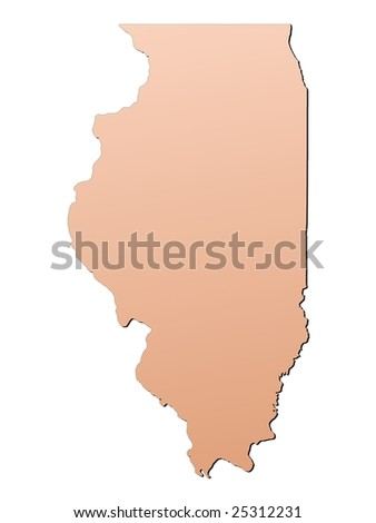 Illinois Usa Map Filled With Brown Gradient Mercator Projection Stock Photo