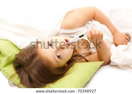 illness little girl on bed - stock photo