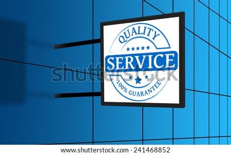 Illuminated advertising sign with the word service - stock photo