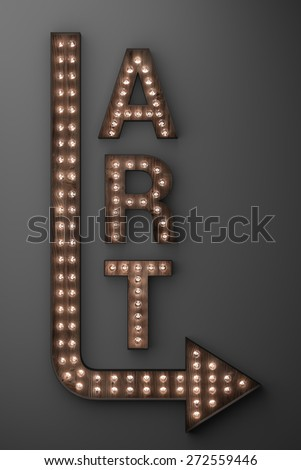 Illuminated art gallery sign with arrow pointing right - stock photo