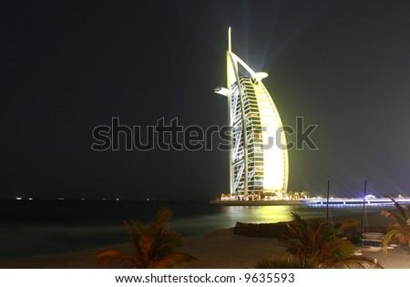 Illuminated Burj Al Arab - stock photo