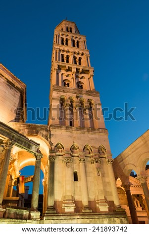 Illuminated cathedral of Saint Domnius in historic Split, Croatia - stock photo