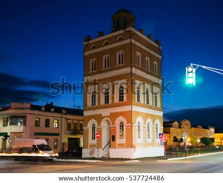 illuminated central square of russian provincial town Murom in evening