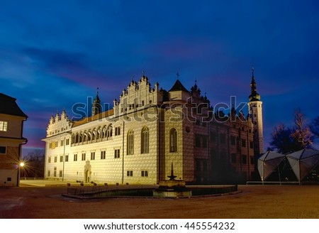 Illuminated Chateau in the evening after twilight.Litomysl.CZ.