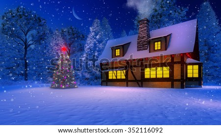 Illuminated christmas tree and cozy rustic house with smoking chimney and icicles on the eaves at magical snowfall night with a half moon. Decorative 3D illustration. - stock photo