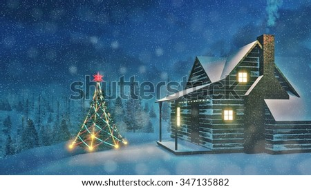 Illuminated Christmas tree and cozy timber house with smoking chimney and luminous windows in the snowy spruce forest at snowfall night. Decorative 3D illustration. - stock photo