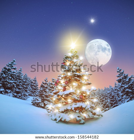 Illuminated christmas tree 3D - stock photo