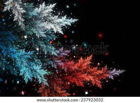 Illuminated Christmas tree twigs with blurred bokeh lights on a black. Abstract frosty winter background. Cover design for booklet, flyer, invitation for holiday, wallpaper desktop. Fractal art - stock photo