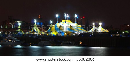 illuminated Circus Tent in the Harbor of Montreal at Night & Illuminated Circus Tent Harbor Montreal Night Stock Photo 55082806 ...