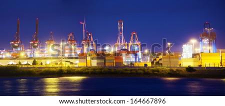 Illuminated Container Terminal, Hamburg, Germany - stock photo