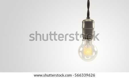 Illuminated 3D rendered vintage lightbulb over a bright white background.  Lots of negative space for graphics and text.