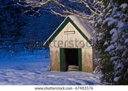 Illuminated doghouse very early one winter morning with copy space. - stock photo