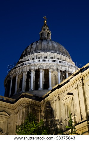 Illuminated Dome of St. Paul's during the blue hour, London, England - stock photo