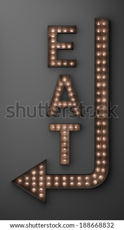 Illuminated eat sign with light bulbs, and arrow pointing left - stock photo