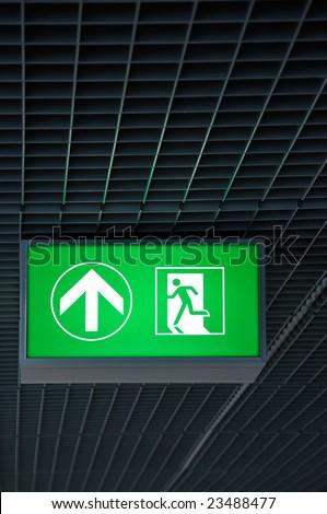 illuminated exit sign - stock photo