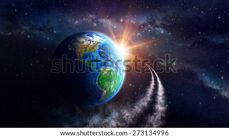 Illuminated face of the Earth in outer space, celestial body in orbit. View of American continent. Elements of this image furnished by NASA - stock photo
