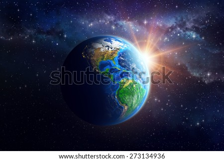Illuminated face of the Earth in outer space. Detailed view of American continent. Elements of this image furnished by NASA - stock photo