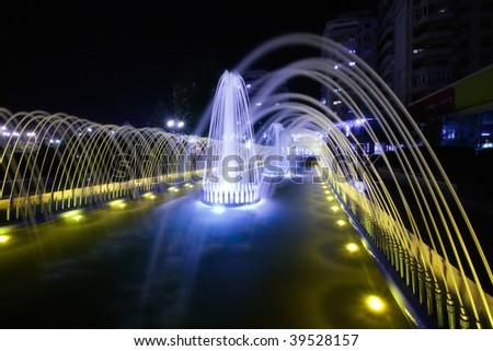 illuminated fountain - stock photo