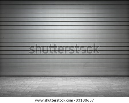 Illuminated grunge metallic roller shutter door - stock photo