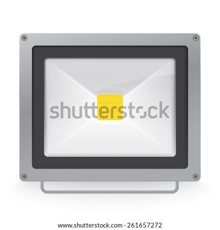 illuminated LED spotlight or glowing flood - stock photo