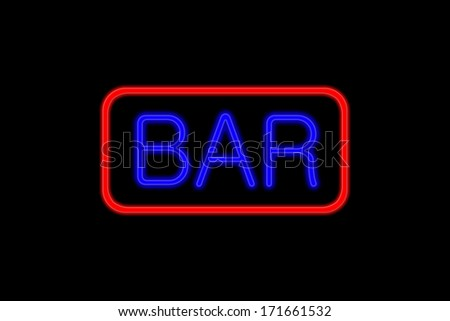 Illuminated Neon sign with blue Letters and red frame showing Bar isolated on black background