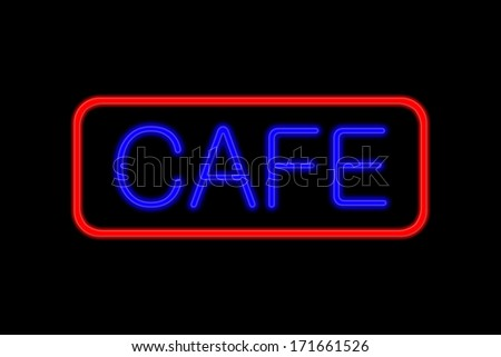 Illuminated Neon sign with blue Letters and red frame showing Cafe isolated on black background