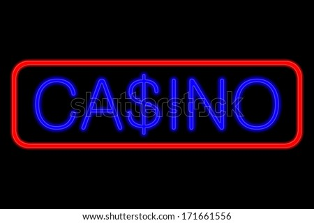 Illuminated Neon sign with blue Letters and red frame showing casino with dollar sign as S isolated on black background