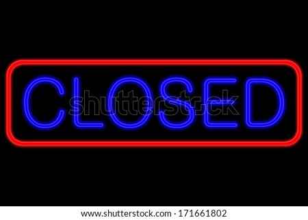 Illuminated Neon sign with blue Letters and red frame showing closed isolated on black background
