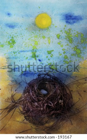 Illuminated Nest- Photo based Mixed Media Image of nest with metaphorical sun. - stock photo