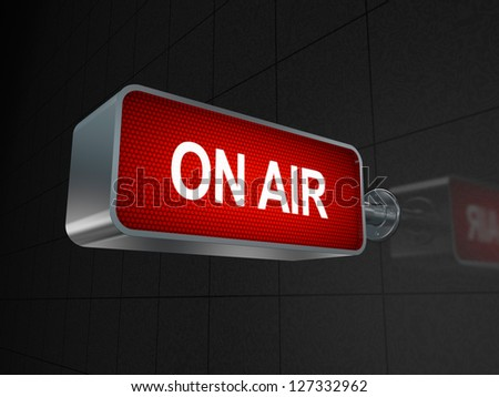 Illuminated On Air studio sign (3D render) - stock photo
