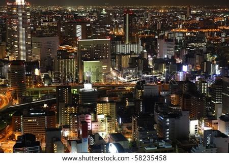 Illuminated Osaka City at night - stock photo