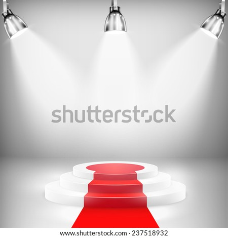 Illuminated Podium With Red Carpet. - stock photo