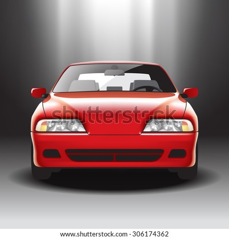 Illuminated red car on the exhibition - stock photo